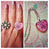 Hamsa Hand Necklace and Matching Ring set