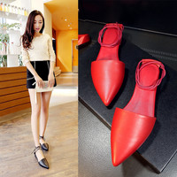 Stylish Design Summer Flat Korean Pointed Toe Leather Shoes Sandals [4920471236]