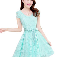 Women Clothes Short Sleeve Lace Dress Sweet Solid Dresses Vestidos