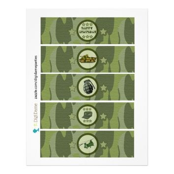 Military Army Camouflage Drink Bottle Cup Labels
