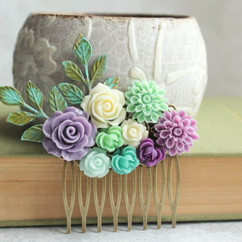 Purple Rose Comb Floral Collage Comb Bridal Hair Piece Fresh Green Chrysanthemum Mint Bridesmaids gift Spring Wedding Verdigris Branch Comb