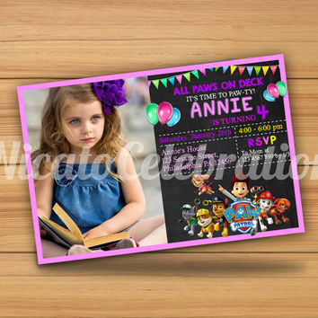 Chalkboard Paw Patrol Invitation - Digital File