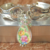 Homer Laughlin Silver Spoon Bracelet with  Crystals and Broken China Jewelry Charm in Sterling Setting in Gift Box