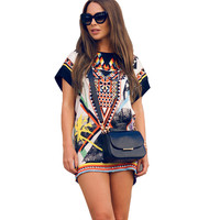Tribal Vintage Loose Straight Mini Dress