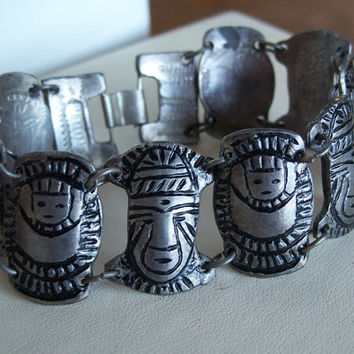 Vintage Tribal Masks Silver Coin Bracelet Mayan Mexico Columbia Peru Stamped Unusual