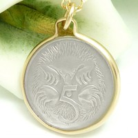 Australian 5 Cent Coin Pendant Spiny Anteater Gold Filled Necklace