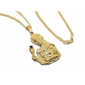 1-2371-1778-f8 18kt Brazilian Gold Layered Santa Barbara Necklace. 24 inch Cuban Link Chain. Pendant 29mm wide by 2 inches tall.