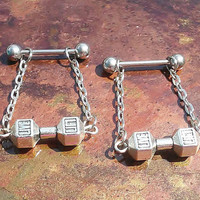 Nipple or cartilage barbell piercings silver dumbbell 14 gauge stainless steel.......light weight