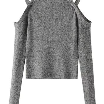 Gray Cold Shoulder Long Sleeve Knit Jumper