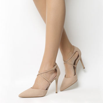 Office Harvey Cross Pattern Point Heels Nude Nubuck - High Heels