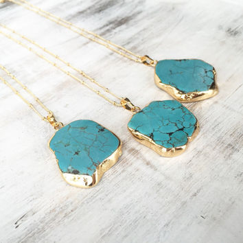 Gold Dipped Turquoise Necklace, Turquoise Slice Pendant, Slice Gemstone, Gemstone Necklace, Turquoise Nugget Necklace, Boho Necklace.