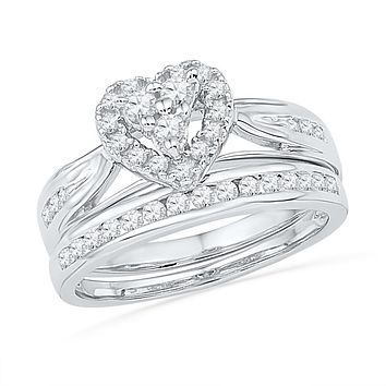 10kt White Gold Womens Round Diamond Heart Bridal Wedding Engagement Ring Band Set 1/2 Cttw