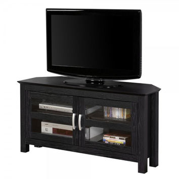 "44"" Corner Wood TV Stand with Glass Doors (Black) (24""H x 44""W x 16""D)"
