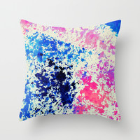 Rainbow Splash - Blue, Pink and Cream Watercolor Abstract Throw Pillow by TigaTiga Artworks