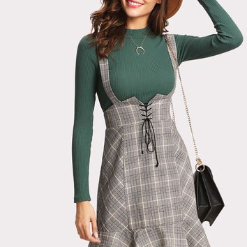 Lace Up Front Ruffle Hem Plaid Skirt