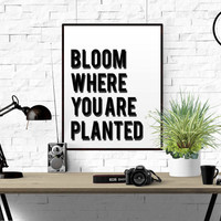 "Inspirational Print ""Bloom Where You Are Planted"" Motivational Quote Typography Art Home Decor Typographic Print Black And White TYPOGRAPHY"