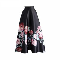 High Waisted Women Pleated Skirts Blossoming Black Floral Printed Ankle Length Long Skirts Fashion Spring Maxi A-line Skirt