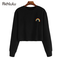 Streetwear Casual Preppy Women Sweatshirt Black Crew Neck Long Sleeve Pullover Crop Sweatshirt Rainbow Embroidery Top