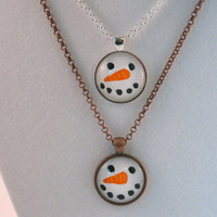 Snowman Necklace, Hand Painted Snowman Face Necklace, Happy Snowman Necklace