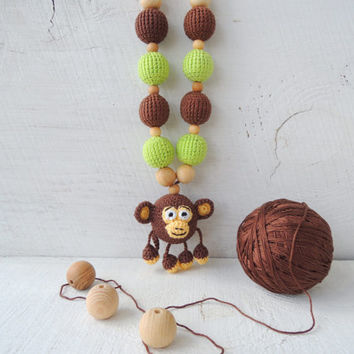 Crochet nursing necklace Funny Monkey, Teething necklace, Teether wooden beads, Crochet sensory toy, Gift idea trendy mom, Good luck charm
