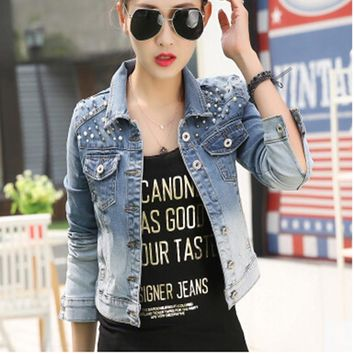 Trendy Autumn Winter Turn-down Collar Long Sleeve Punk Jeans Crop Jacket Outerwear Distressed Washed Rivet Women Short Denim Jacket AT_94_13