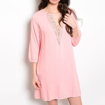 Laced Neckline Shift Dress in Light Pink