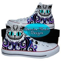 Hand Painted Converse Hi Sneakers, Cheshire cat, Fanart, Cat shoes, Custom Handpainted