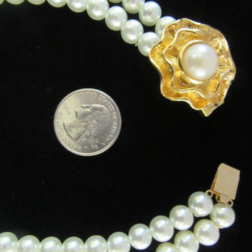 White double strand faux pearl necklace with goltone flower and pearl clasp - bride - wedding - 1950's Mid Century style - Free U.S.Shipping