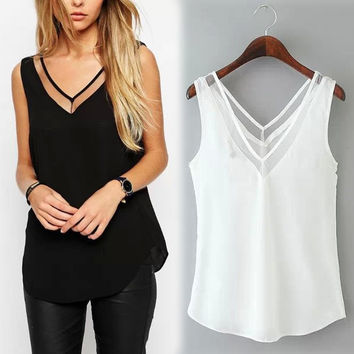2016 New Spring Summer Women's Solid Color V-neck Chiffon Blouse Stitching Gauze Halter Vest Free Shipping