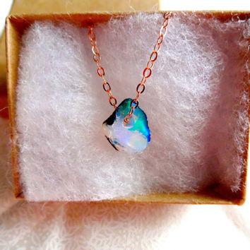 Rough Opal Pendant & 925 Sterling Silver; Oxidized Sterling Silver; 14k Rose Gold Fill; 14k Gold Fill Chain Necklace