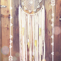 Light Pink, Gold, & Off White Boho Shabby Chic Hand Beaded Lace Gold Dipped Glitter Feather Crochet Doily Dreamcatcher // Baby Nursery Decor