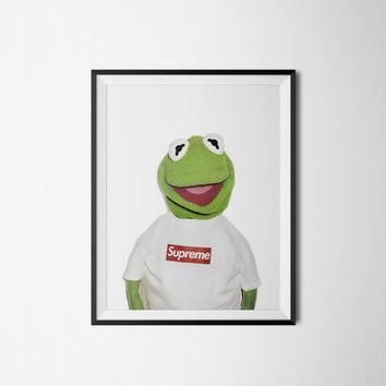 "Supreme Kermit, Supreme Poster Wall Art, Digital Download, 300dpi, A3 or 18"" x 24""."