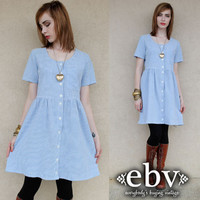 Vintage 90s Blue Gingham Mini Babydoll Dress S M