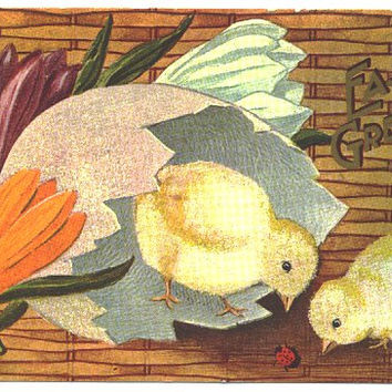 Vintage Easter Postcard 1900s Easter Chicks Postcard, Easter Lily Post Card, Antique Decor, Clay Center Kansas Postmark, Holiday Postcard