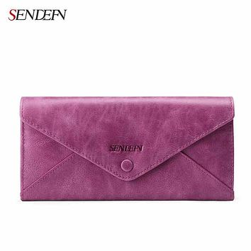 Genuine Leather Women Wallets Lady Long Purse SENDEFN Vintage Woman Cowhide Wallet Ladies Purses For Money/Coin/Phone/Clips