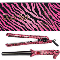 """Bebella Dual Gift Set with 18-25mm Professional Clipless Hair Curling Iron and Professional 1.25"""" 100% Ceramic Plates Hair Straightener Flat Iron (Pink Zebra)"""