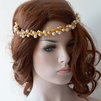 Gold Bridal Headband, Gold and Pearl Wedding Crown,  Bridal Hair Accessory, Wedding hair Accessory, Gold Leaf Headband