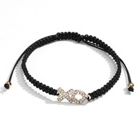 LC Lauren Conrad Simulated Crystal XO Woven Bracelet