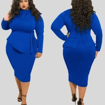 Blue Ruffle Bowknot Bodycon Peplum Plus Size Party Midi Dress