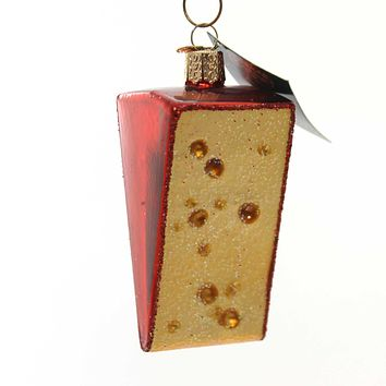 Old World Christmas CHEESE WEDGE Glass Ornament Dairy Protein 32220