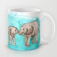 Baby Elephant Love - sepia on watercolor teal Mug by Perrin Le Feuvre | Society6