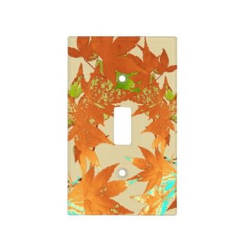 Stylish Fall Gold Japanese Maple Leaves Garland Switch Plate Covers