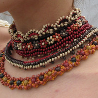 Free form beaded crochet necklace by novaknata on Etsy