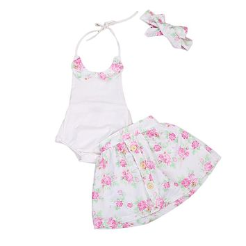 3PCS Baby clothes set Toddler Kids Girl Sleeveless Bodysuit Skirt With Headband Outfit Newborn Backless Clothes