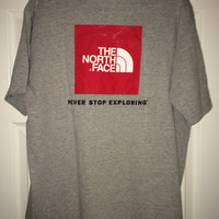 Sale!! Vintage THE NORTH FACE Never Stop Exploring Gray T shirt