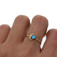 night blule fire opal Gem Delicate 2018 new design moon opal stone cute minimal gold filled dainty thin finger ring midi rings