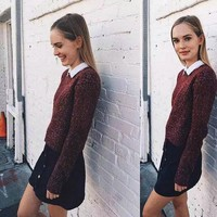 ESBJ6E Brandy Melville Pullover Knit Batwing Sleeve Casual Tops [9698944399]