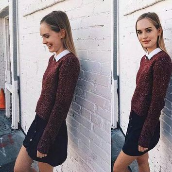 ICIKJ6E Brandy Melville Pullover Knit Batwing Sleeve Casual Tops [9698944399]