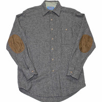 Vintage Wool Pendleton Button Up Shirt with Elbow Patches Made in USA  Mens Size Small