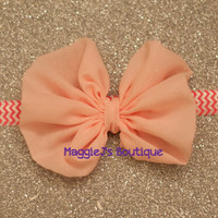 Pink Chiffon bow Chiffon bow, Baby girl headband, newborn Headband, fancy headband,Newborn photo prop,hair accessories, Pink Hair Clip